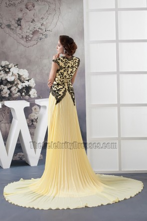 Celebrity Inspired Yellow Chiffon Formal Dress With Black Embroidery