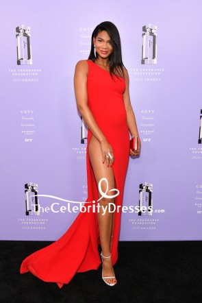 Chanel Iman Red One-shoulder Evening Formal Dress 2018 Fragrance Foundation Awards