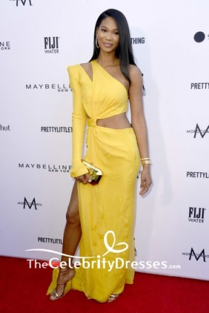 Chanel Iman Cut Out One Sleeve Thigh-high Slit Evening Dress 2019 Fashion Los Angeles Awards