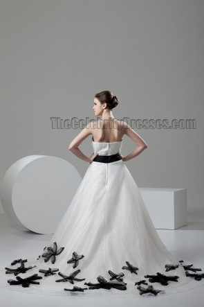 Chapel Train A-Line Sweetheart Strapless Wedding Dress With Black Details