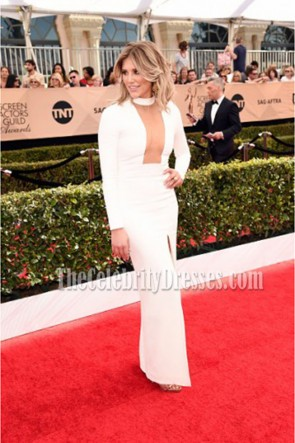 Charissa Thompson Sexy Ivory Long Sleeve High Slit Evening Dress 2017 SAG Red Carpet TCD7182