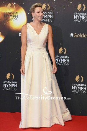 Charlene Wittstock Deep V-neck Ball Gown 2018 Monte Carlo TV Festival Red Carpet