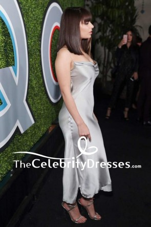 Charli XCX Silver Slip Cocktail Dress With Spaghetti Strap 2017 GQ Men Of The Year Party TCD7614