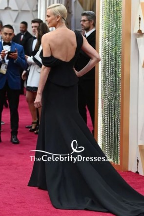 Charlize Theron Black Thigh-high Slit Formal Dress 2020 Oscars TCD8851