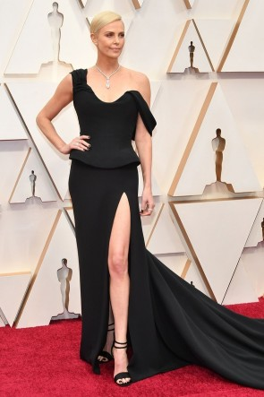 Charlize Theron Black Thigh-high Slit Formal Dress 2020 Oscars