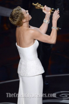 Charlize Theron White Formal Dress 2013 Oscar Red Carpet