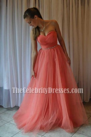 Cheap Coral Sweetheart A-Line Beaded Prom Dress Evening Gown