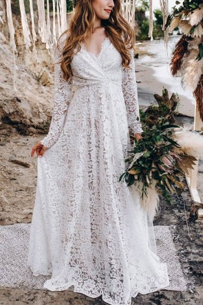 Cheap Fabulous White Lace Dress with long sleeves for wedding and prom.