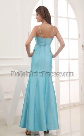 Simple Blue Spaghetti Straps Bridesmaid Prom Dresses