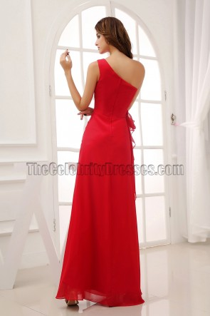 Long Red One Shoulder Bridesmaid Dresses Prom Gown