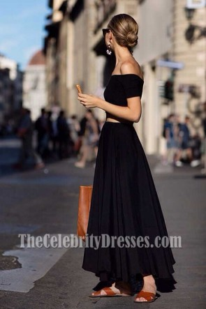 Chic Black Two Piece Party Evening Dresses