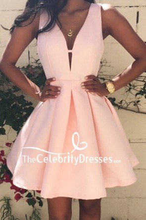 Chic Deep V-neck Satin Graduation Dress