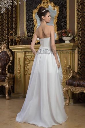 A-Line Strapless Sweetheart High Low Informal Wedding Dress