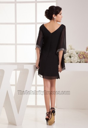 Chic Black V-Neck Beaded Cocktail Party Homecoming Dresses