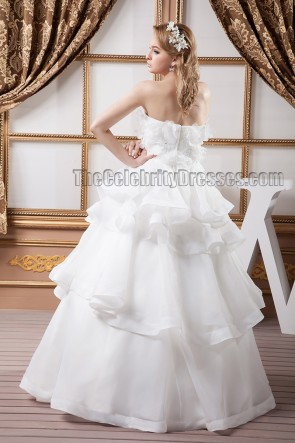 Chic Floor Length Strapless Organza Wedding Dresses