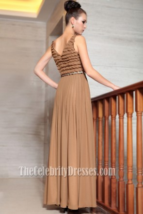 Floor Length Brown Chiffon Prom Gown Evening Formal Dresses