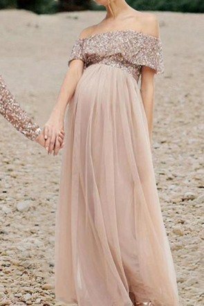 Chic Off Shoulder Sequin A-line Maternity Gown (1)