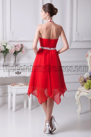 Chic Red Chiffon A-Line Halter Cocktail Party Dresses