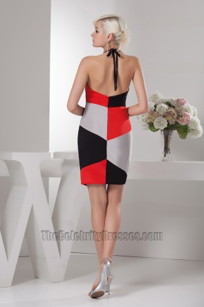 Chic Short Color Block Halter Cocktail Graduation Party Dresses