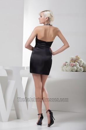 Chic Short Mini Black Halter Beaded Party Homecoming Dresses