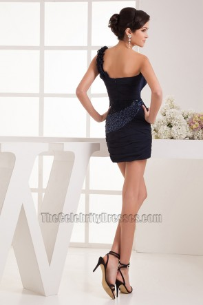 Chic Short Mini Dark Navy One Shoulder Party Homecoming Dresses