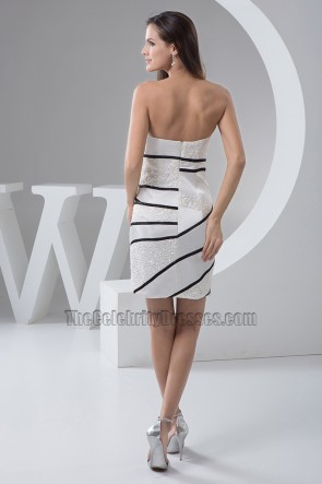 Short Strapless Cocktail Graduation Party Dress With Beadwork