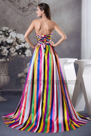 Chic Strapless A-Line Color Block Formal Dress Evening Prom Gown