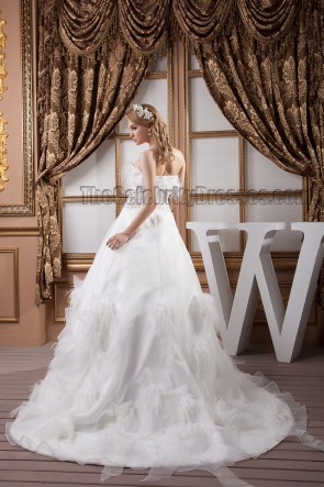 Chic Strapless A-Line Feather Brush Train Wedding Dresses