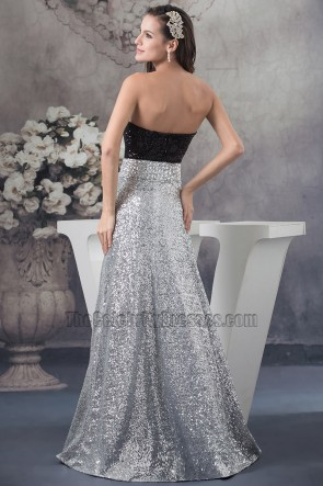 Chic Strapless Two Pieces Sequined Prom Gown Party Dress