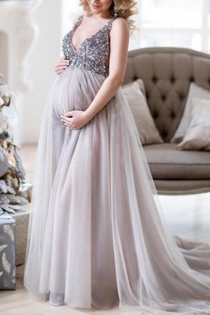 Chic V-neck Maternity Dress With Tonal Delicate Sequins  (1)