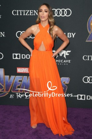 Chloe Bennet  Orange Cut Out Evening Dress World Premiere Of 'Avengers Endgame'