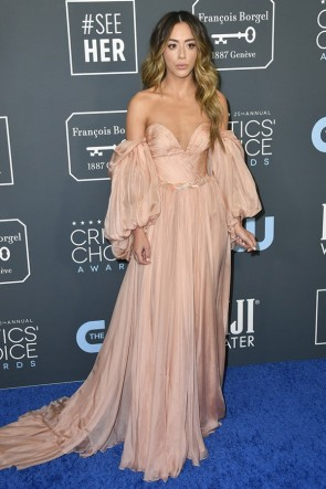 Chloe Bennet Off-the-shoulder Formal Dress With Sleeves 2020 Critics' Choice Awards