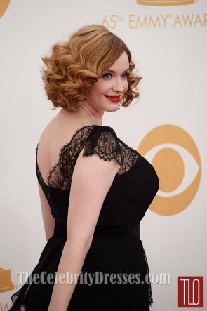 Christina Hendricks Black Plus Size Prom Dress 2013 Emmy Awards Red Carpet