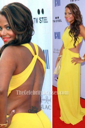 Christina Milian Yellow Prom Gown Formal Evening Dress BMI Urban Awards 2011
