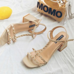 Chunky Heel Sandals Flats Open-toe With Rivet Buckle Shoes For Women