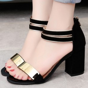 Chunky Heel Sandals Flats Open-toe With Zipper