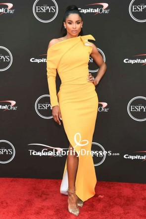 Ciara Yellow One-shoulder Thigh-high Slit Evening Dress 2018 ESPYS