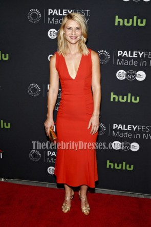 Claire Danes Red Deep V-neck Party Dress PaleyFest Made 2016  4