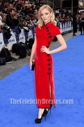 Clara Paget  Red Velvet Slit Form-fit Evening Dress