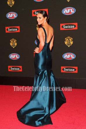 Clementine Mcveigh Deep Blue V-neck Long Mermaid  Evening Prom Gown 2015 Brownlow Medal TCD6886