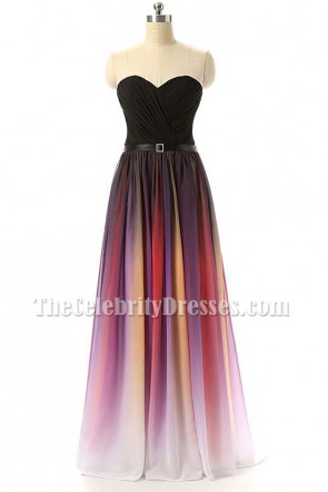 Color Gradient Strapless Sweetheart Chiffon Formal Evening Prom Dress TCD6897