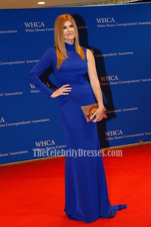 Connie Britton Blue Single-sleeve Long Evening Gown 2016 White House Correspondents' Association Dinner TCD6768