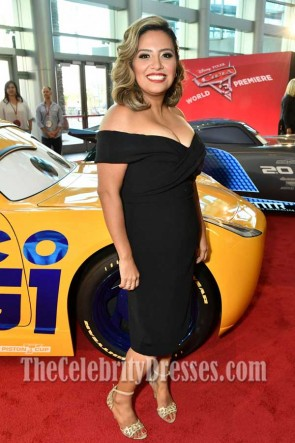 Cristela Alonzo Black Off-the-shoulder Party Dress Premiere of Disney And Pixar's Cars3 TCD7344