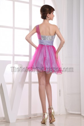Cute A-Line One Shoulder Party Dress Homecoming Dresses