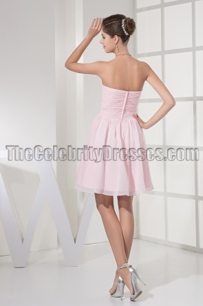 Pearl Pink Strapless A-Line Party Graduation Dresses