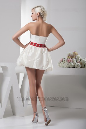 Short Mini Ivory And Red Strapless Party Homecoming Dresses
