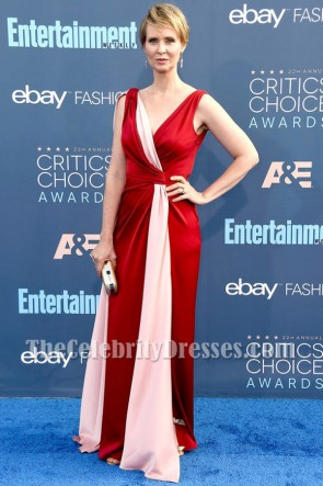Cynthia Nixon Two Tones Deep V-neck Evening Prom Gown 2016 Critics' Choice Awards