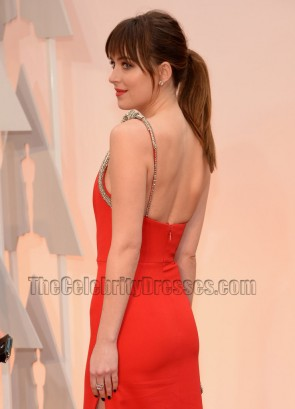 Dakota Johnson Red One Shoulder Evenign Dress  2015 Oscars TCD6051