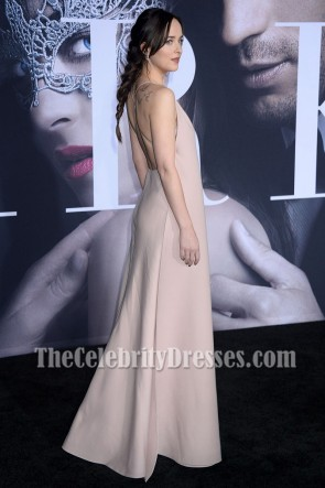 Dakota Johnson Fifty Shades Darker Premiere 2017 Deep V-neck Backless Evening Dress TCD7148