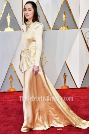 Dakota Johnson Gold Long Sleeves Evening Prom Gown 2017 Oscars Dress TCD7154